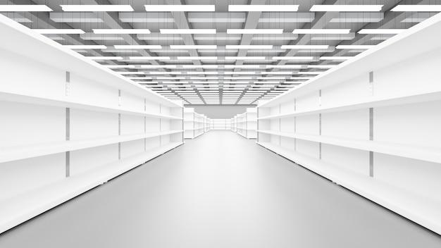 Renderowanie 3d. przechowuj supermarket wewnętrzny z półkami.
