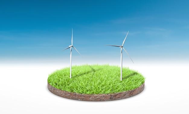 Renderowanie 3d. przekrój zielonej trawie z turbiną wiatrową na tle błękitnego nieba.
