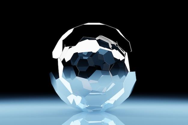 Renderowanie 3d. przezroczysta nadmuchiwana piłka. zbliżenie figury geometrycznej kuli na ciemnym tle