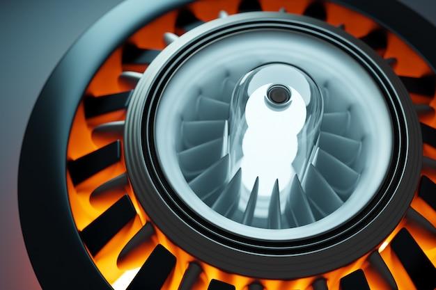 Renderowanie 3d przyszłej technologii turbiny rakietowej silnika pod światłem futurystyczna część