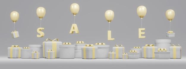 Renderowanie 3d pudełek na prezenty i tekstu sprzedaż latające balonem w kolorze szarym i żółtym
