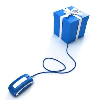 Renderowanie 3d pudełka podłączonego do myszy komputerowej