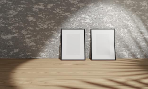 Renderowanie 3d puste czarne ramki na betonowej ścianie na zmielonym drewnie.