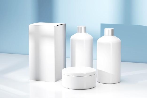 Renderowanie 3d puste makiety pojemników kosmetycznych zestaw butelek kosmetycznych pakiet produktów kosmetycznych