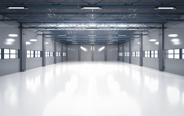 Renderowanie 3d puste wnętrze fabryki z lampami wiszącymi