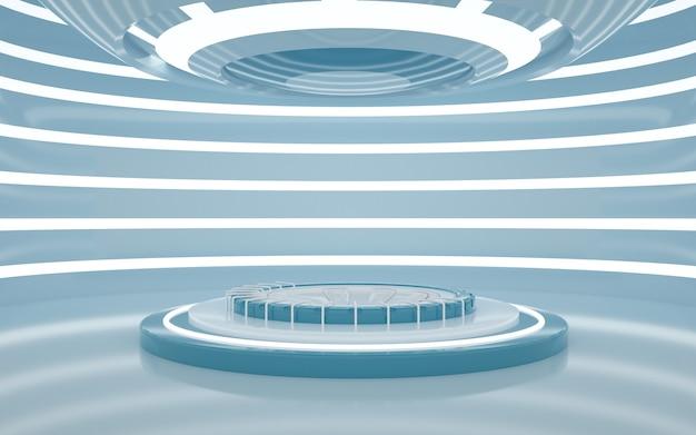 Renderowanie 3d pustego, białego pokoju z ozdobnymi światłami i okrągłym podium do wyświetlania produktów