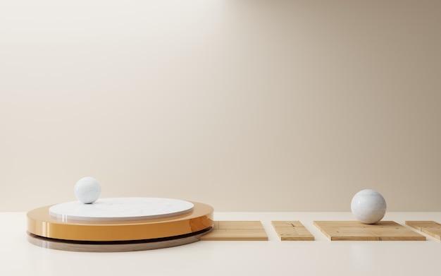 Renderowanie 3d pustego brązowego podium abstrakcyjnego minimalnego tła