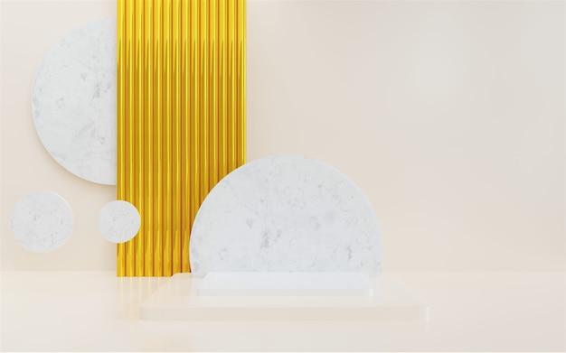 Renderowanie 3d pustego marmurowego podium abstrakcyjnego minimalnego tła