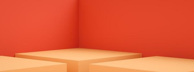 Renderowanie 3d pustego pokoju lub pomarańczowego cokołu nad czerwoną ścianą, pusty stojak do wyświetlania produktu, obraz panoramiczny