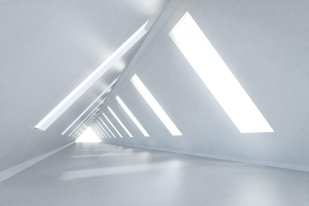Renderowanie 3d pustego pokoju w kształcie trójkąta