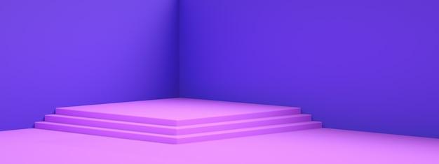 Renderowanie 3d pustego pokoju wnętrza lub fioletowy wyświetlacz na cokole nad niebieską ścianą, pusty stojak na pokazanie produktu, panoramiczna makieta