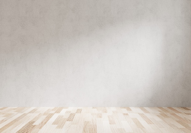 Renderowanie 3d pustego pokoju z białą ścianą i podłogą z jasnego drewna