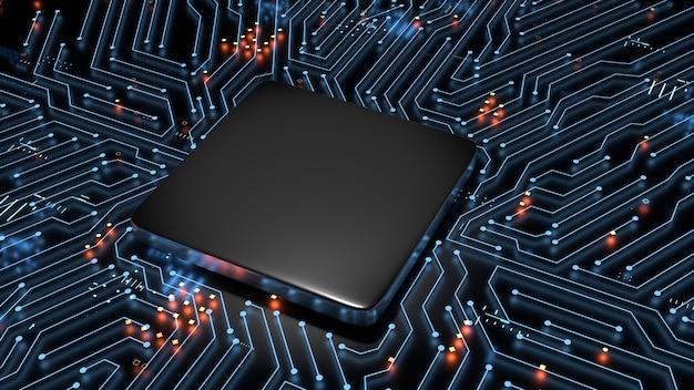 Renderowanie 3d pustego pustego procesora na tle świecącego obwodu płyty głównej.