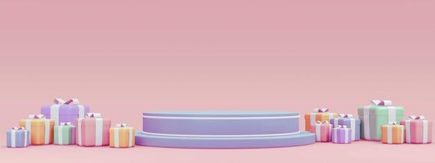 Renderowanie 3d pustego stojaka na podium z pudełkami na prezenty w poziomej scenie w pastelowym motywie