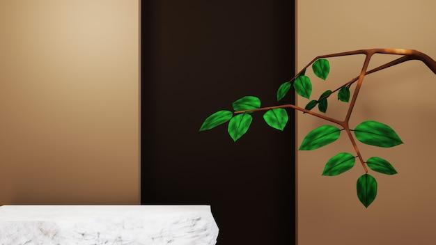 Renderowanie 3d pustego tła produktu do wyświetlania dekoracji kosmetyków mody i kremów. nowoczesne tło podium dla luksusowego produktu.