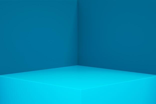 Renderowanie 3d pustego wnętrza pokoju lub niebieskiego wyświetlacza na cokole, pusty stojak do pokazania produktu.