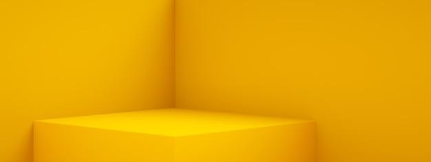 Renderowanie 3d pustego wnętrza pokoju lub żółtego wyświetlacza cokołu, pusty stojak do wyświetlania produktu, obraz panoramiczny