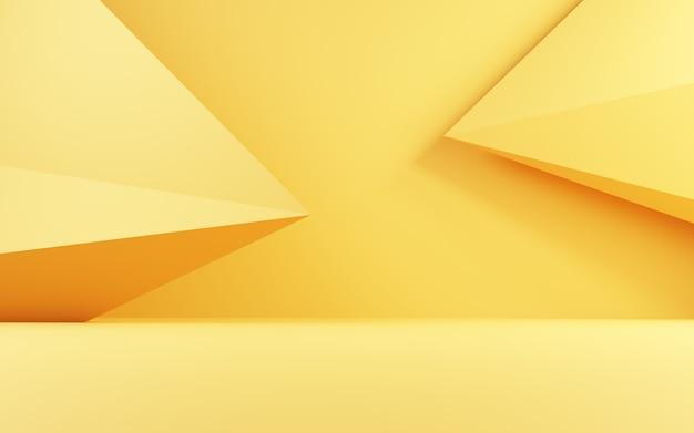 Renderowanie 3d pustego złotego abstrakcyjnego geometrycznego minimalnego tła koncepcji scena na reklamę