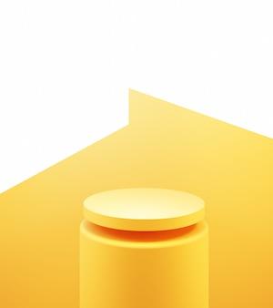 Renderowanie 3d pustego żółtego pomarańczowego podium abstrakcyjnego minimalnego projektu reklamy w tle