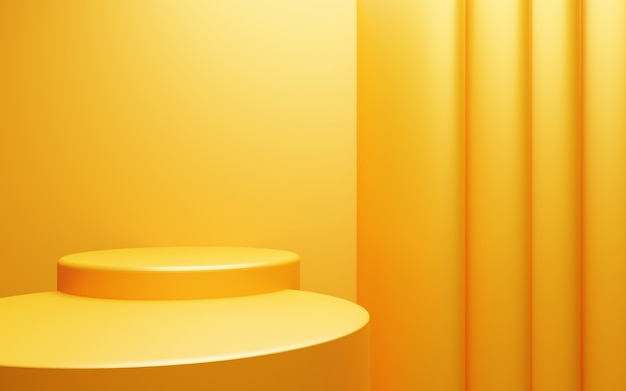 Renderowanie 3d pustej żółtej pomarańczowej podium abstrakcyjnej minimalnej sceny tła do projektowania reklam