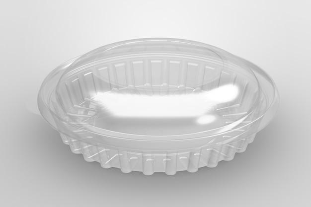 Renderowanie 3d pusty przezroczysty pojemnik na ciasto na białym tle