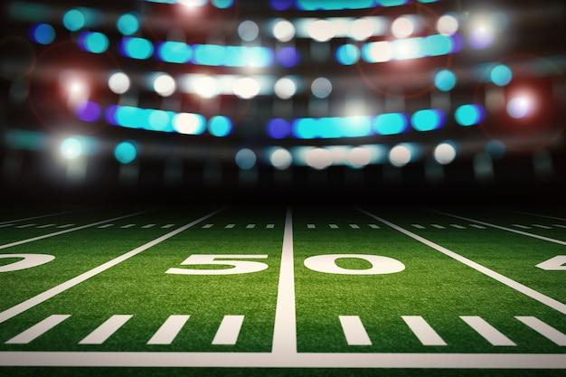 Renderowanie 3d pusty stadion futbolu amerykańskiego