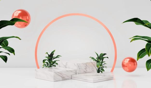Renderowanie 3d pusty wyświetlacz na podium lub cokole na białej półce produktów bg luksusowy minimalizm wyświetlacza