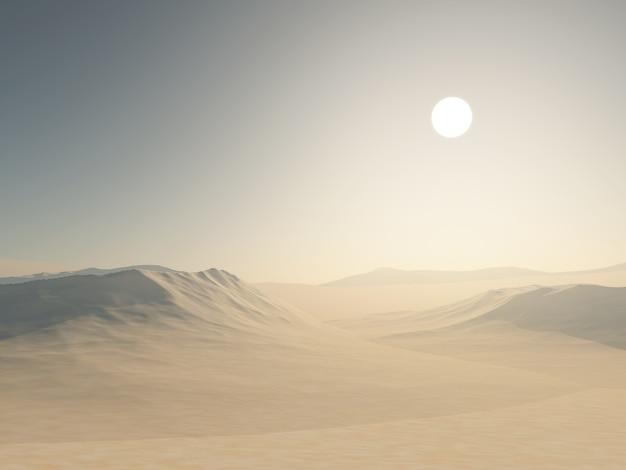 Renderowanie 3d pustynnego krajobrazu z wydmami