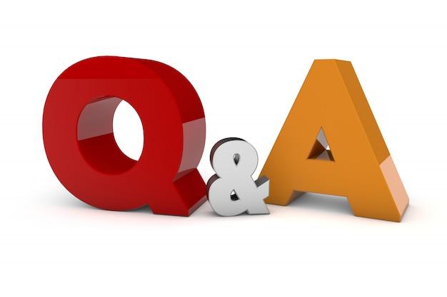 Renderowanie 3d pytania i odpowiedzi - pytania i odpowiedzi na białym tle, trójwymiarowy rendering, 3d ilustracja