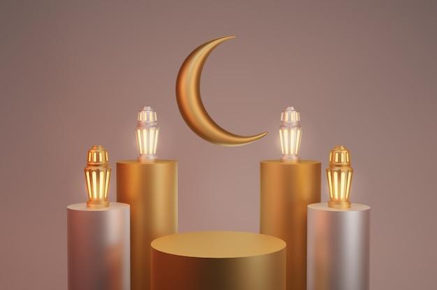 Renderowanie 3d ramadan kareem tło latarnia z podium
