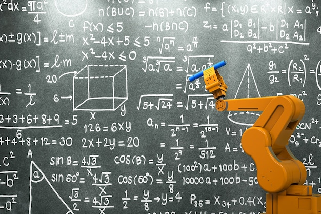Renderowanie 3d ramię robota uczące się lub rozwiązujące formułę matematyczną