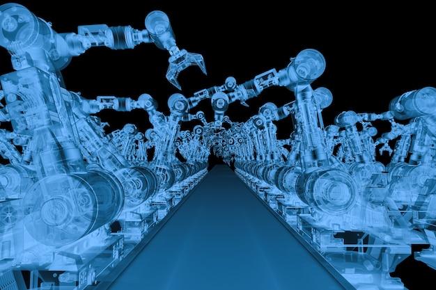 Renderowanie 3d ramię robota x ray z linią przenośnika izolowane na czarno