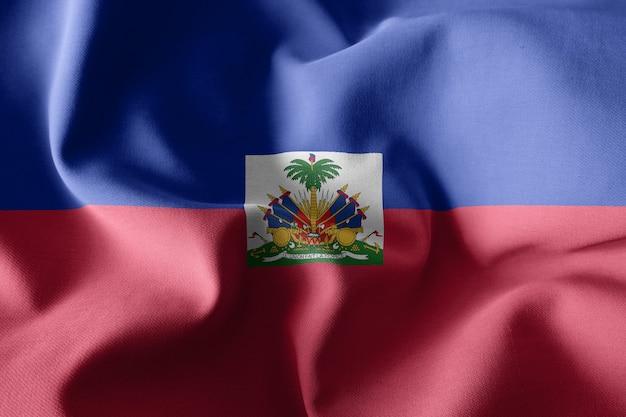 Renderowanie 3d realistyczna falująca jedwabna flaga haiti