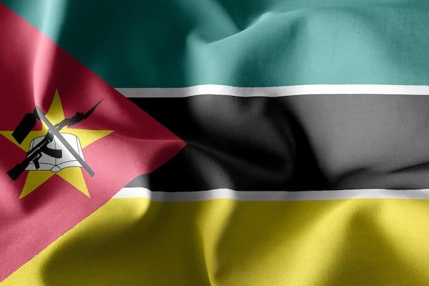 Renderowanie 3d realistyczna falująca jedwabna flaga mozambiku