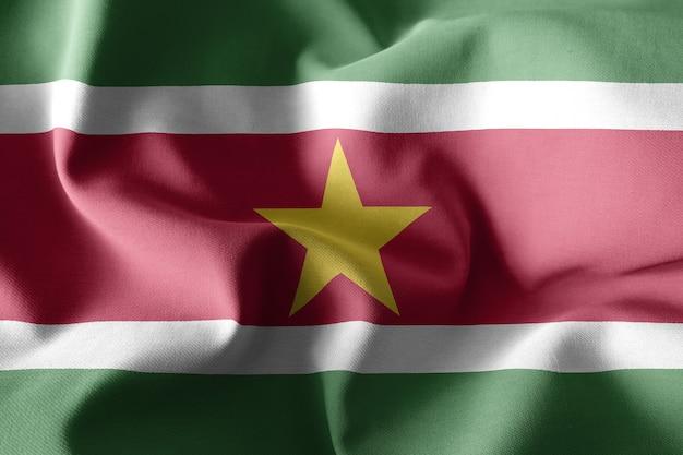 Renderowanie 3d realistyczna falująca jedwabna flaga surinamu