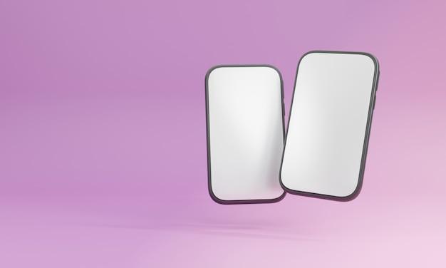 Renderowanie 3d, realistyczna makieta smartfona fioletowy minimalny na tle. rama z pustym wyświetlaczem na białym tle szablony