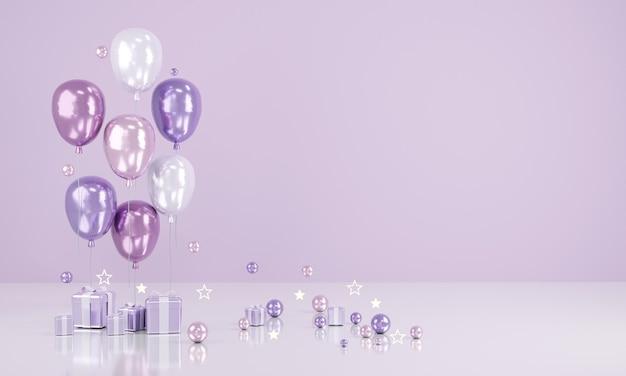 Renderowanie 3d realistyczne fioletowe balony z pustą kopią miejsca na tekst i prezent na tle