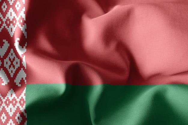 Renderowanie 3d realistyczne macha jedwabnej flagi białorusi