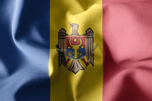Renderowanie 3d realistyczne macha jedwabnej flagi mołdawii