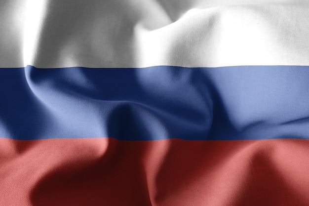 Renderowanie 3d realistyczne macha jedwabnej flagi rosji