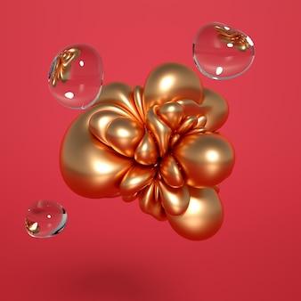 Renderowanie 3d realistycznej kompozycji. latające kule, tori, rurki, stożki i kryształy w ruchu.piękny minimalizm tła abstrakcji. ilustracja, renderowanie 3d.