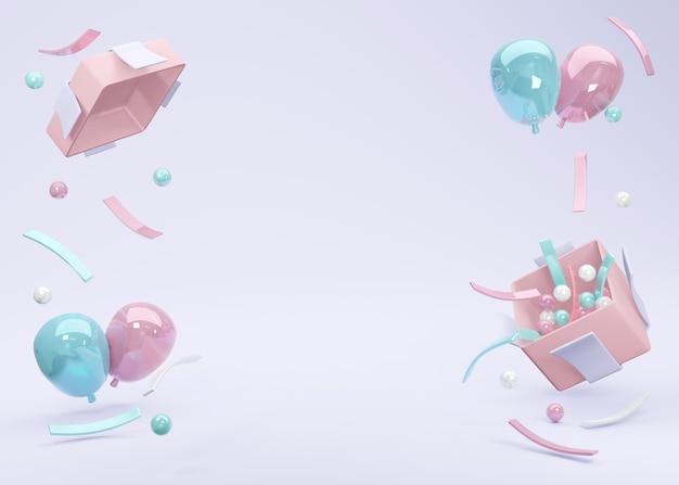 Renderowanie 3d realistyczny różowy niebieski balon unoszący się z pudełka z miejscem na tekst w tle