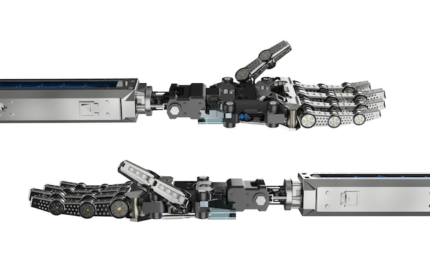 Renderowanie 3d ręka cyborga lub ręka robota na białym tle