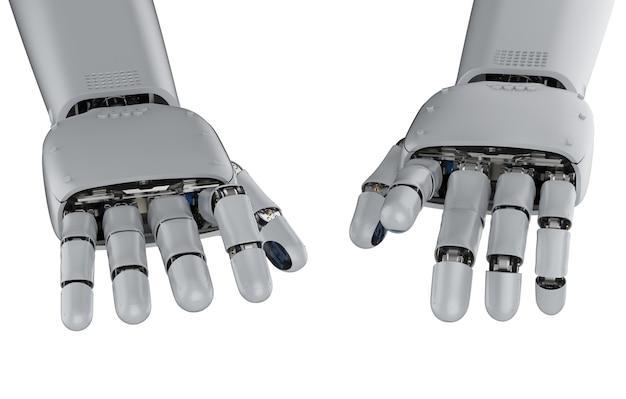 Renderowanie 3d ręka cyborga podczas pisania lub grania na pianinie na białym tle