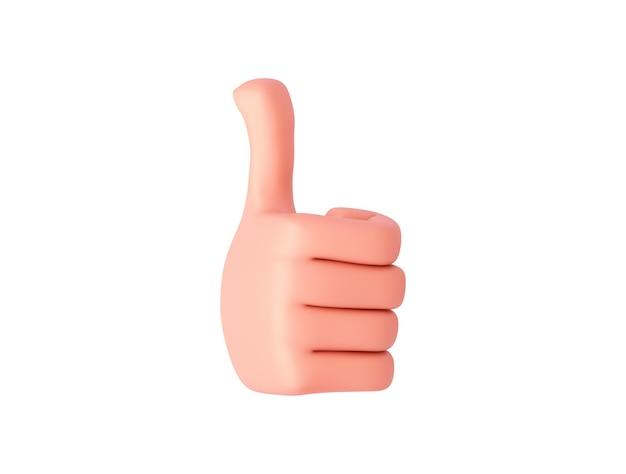 Renderowanie 3d, ręka rysunkowa zwrócona lekko w prawo pokazuje podobny znak. gest ręki