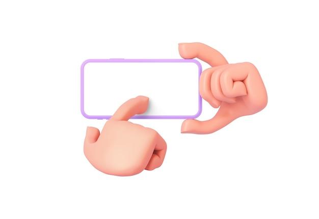 Renderowanie 3d, ręka z kreskówek trzyma telefon, druga ręka naciska na dolną część ekranu