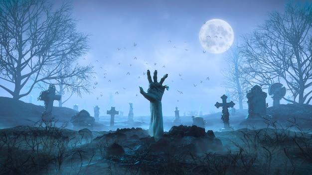 Renderowanie 3d ręka zombie czołga się z ziemi w nocy na tle księżyca na cmentarzu