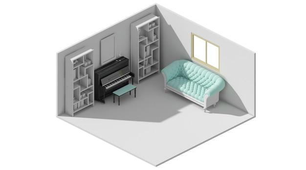 Renderowanie 3d relaksującej koncepcji układu z fortepianem