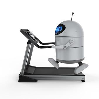 Renderowanie 3d robota androida lub robota sztucznej inteligencji na bieżni