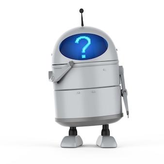 Renderowanie 3d robota androida lub robota ze sztuczną inteligencją ze znakiem zapytania